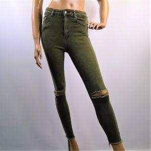 Zara Women Jeans Distressed Skinny Raw Hem